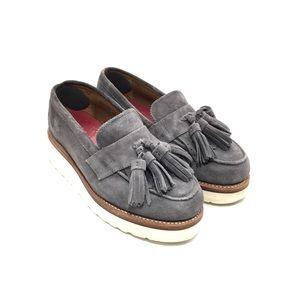 Grenson Gray Suede Clara Platform Tassel Loafers